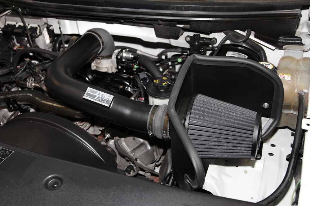 K N Air Intake Under The Hood Of Ford F150 Lincoln Mark Lt
