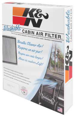 Packaging of K&N VF2038 cabin air filter for the Dodge Grand Caravan and Chrysler Town & Country Van
