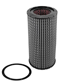 Part number 38-2040R is a reverse flow air filter that is 22.688 inches high, with an outer diameter of 10.563 inches, and an inner diameter of 6 inches