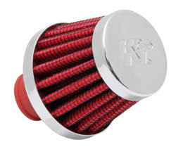 K&N 62-1600WT-L Crankcase Vent Filter with rubber flange in red