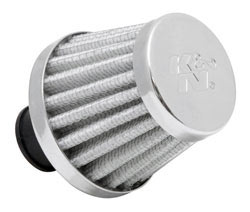 K&N 62-1600WT-L Crankcase Vent Filter with rubber flange in white