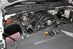 K&N Air Intake under the hood of select Chevy, GMC, Cadillac SUVs and trucks
