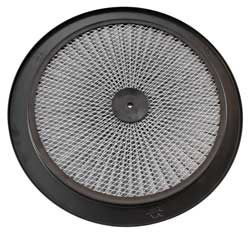 This XStream Air Flow Top filter lid has a 14 inch outside diameter featuring a durable black powder coated ring