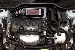 K&N Air Intake under the hood of Mini Cooper