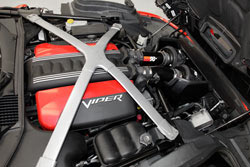 K&N replaces the stock 2013 Dodge Viper SRT 8.4L V10 air filter box but maintains compatibility with the original ram hood scoop for a true cold air intake system
