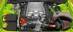 K&N Air Intake under the hood of 2015-2016 Dodge Challenger Hellcat