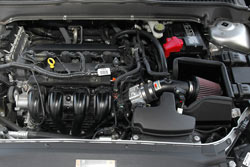 K&N Air Intake under the hood of Ford Fusion