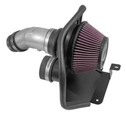The K&N performance air intake system for 2014-2017 Hyundai Elantra uses a silver aluminum air intake