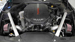 A K&N 69-5318TS Typhoon Intake System installed on a 2018 Kia Stinger GT