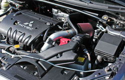 K&N 2008-2014 Lancer air intake incorporates the factory fresh air routing to help bring cooler air into the air filter