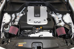 Dual silver powder coated aluminum intake tubes increase under-hood appeal.