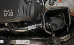 K&N Blackhawk Induction air intake system for the 2014 Dodge Challenger, Dodge Magnum and Chrysler 300c installed in engine bay shot