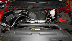 K&N Air Intake under the hood of a Dodge Ram 1500 Hemi