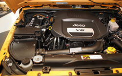 engine bay photo of Blackhawk Induction system for 2012-2016 Jeep Wrangler JK 3.6L Pentastar V6 models