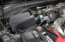 K&N Air Intake under the hood of Ford F250 & F350