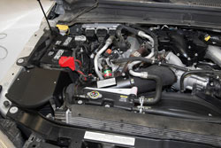 K&N Air Intake under the hood of Ford F350