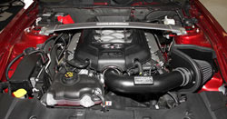 K&N Air Intake under the hood of Ford Mustang GT