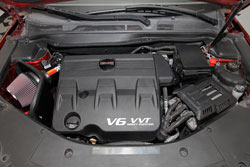 K&N Air Intake under the hood of 2010 to 2012 Chevrolet Equinox and GMC Terrain