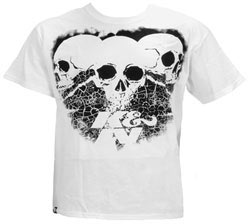 88-6014-XXXL T-Shirt; 3 Skulls Black on White, 3x
