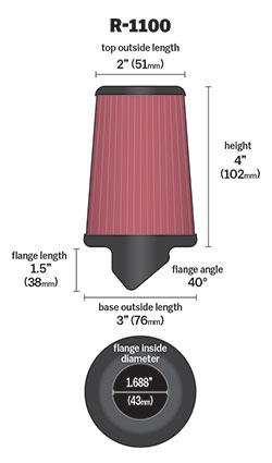 K&N filter dimensions schematic