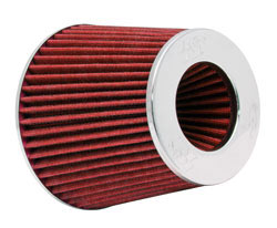 "K&N universal air filter with a 6"" base diameter, 4.75"" top diameter, and is 5.5"" tall"
