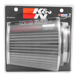 These K&N universal air filters feature multi-lingual clam shell packaging