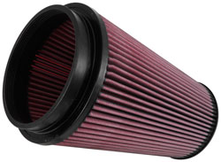 The K&N air filter can be used for up to 100,000 miles before cleaning, depending on conditions