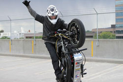 K&N stunt rider Rob Carpenter calls the wheelie the foundation of all trick riding.