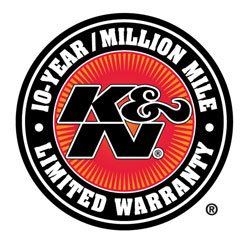 For full details of the limited warranty visit the K&N Million Mile Limited Warranty web page