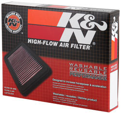 Packaging for the K&N 33-3038 replacement air filter for the Honda City and Honda Amaze