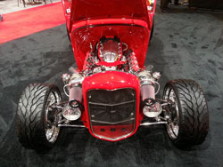 The twin turbo setup on this 1932 Ford displayed at SEMA 2012 takes advantage of the room in front of the motor, to get the optimum air flow