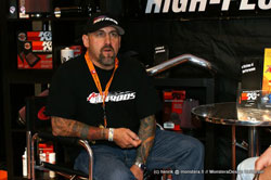 Duane Meyer of American Hot Rod Garage visited the Aaltonen Motorsports K&N booth