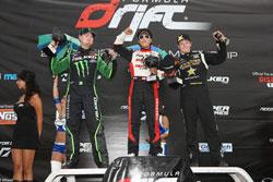 Vaughn Gittin Jr. and Daijiro Yoshihara take podium at Formula D Round 3. Photo by Larry Chen of Driftfotos.com