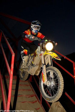 Team Malcolm Smith/Norco Tires racing through the obstacles at night. Photo courtesy of Sean Renshaw.
