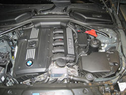 K&N air filter installed into  BMW