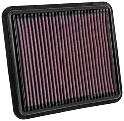 The K&N 33-5042 replacement air filter is designed to fit into the existing factory air box and installs in around 5 minutes with usually no tools required.