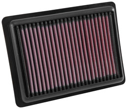 The K&N 33-5043 replacement air filter includes a cotton gauze media treated with special grade oil to capture and hold particles until the filter is cleaned.