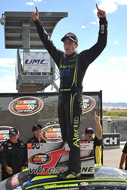 Noah Gragson in victory lane at Utah Motorsposrts Campus