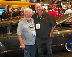 Mike Young and Chris Carlson in front of the 1949 Buick Super 56S Sedanette at the 2015 SEMA Show