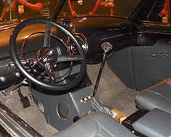 1949 Buick Super Sedanette 56S custom dash fabricated by Chris Carlson Hot Rods using Dakota Digital gauges and modeled after a Lincoln Zephyr