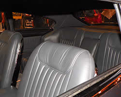Leather covered front seats, wrap around rear seats, and center console inside the 1949 Buick 56S are from a 1964 Ford Thunderbird
