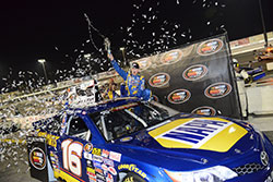 Rookie Todd Gilliland celebrates his win in the NASCAR K&N Pro Series West Series opener in Irwindale