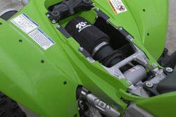 K&N air intake installed into a 2008-2009 Kawasaki KFX450R ATV