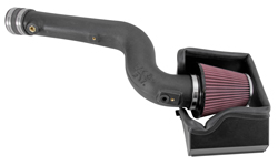 The K&N 2013-2014 Ford Fusion 2.0 EcoBoost air intake system is engineered with a molded high-density polyethylene (HDPE) intake tube, open-element high-flow air filter, & air filter heat shield