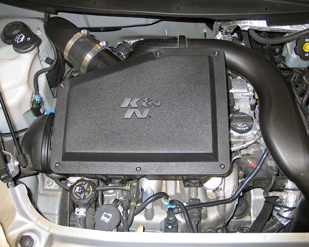 K&N stuffed an oversize conical air filter inside the stock air box which  also takes advantage