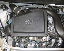 K&N stuffed an oversize conical air filter inside the stock air box which also takes advantage of the factory cold air inlet