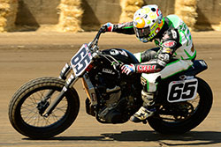Cory Texter riding flat track at the Springfield Mile