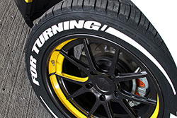 "One of the many subtle styling modifications that Murray incorporated into the build are the tire lettering that says ""For Turning"" on the front tires and ""For Burning"" on the rear tires."