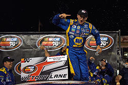 Todd Gilliland celebrates his fourth straight NASCAR K&N Pro Series West win