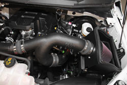 K&N 63-2593 air intake system installed in engine bay of 2015 or 2016 Ford F-150 2.7L EcoBoost